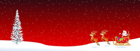 Santa Claus on a sleigh with deers on a red background. Spruce, snowflakes, snow. Christmas night. Santa welcomes.