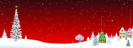 Little village on Christmas Eve on a red background. Christmas tree and star in the sky. Snow-covered village. Night. Winter rural landscape on Christmas Eve. 일러스트