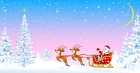 Santa on a sleigh with deers welcomes. Christmas tree. Star in the sky. Snowy forest. Santa on the background of fir trees and snowflakes. Ilustração