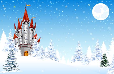Castle on a background of a winter snowy forest. Snow, snowflakes. The night, the moon. Winter landscape. Illustration