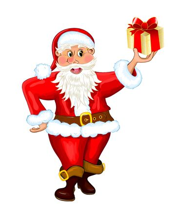 Santa Claus holds a gift in his hand. Santa is isolated on a white background.
