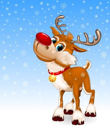 Cute cartoon deer with a red nose and a little bell. Winter blue background. Snowflakes, winter. Greeting card.