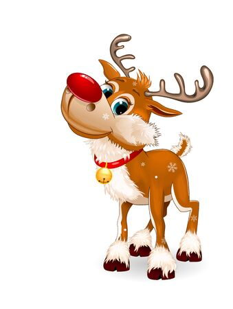 Cute cartoon deer with a red nose and a little bell. White background. 일러스트
