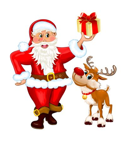 Santa Claus and reindeer isolated on a white background.