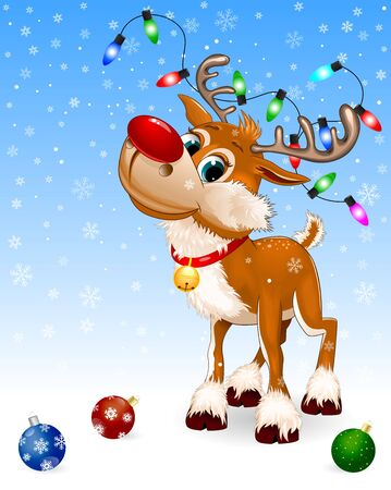 Cute cartoon deer with a red nose and a little bell. Christmas decorations. Winter blue background. Snowflakes, winter. Greeting card. 일러스트