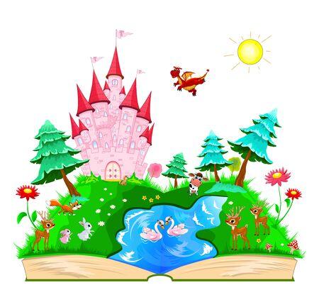 Märchenbuch öffnen. Auf den Seiten eines rosa Schlosses verschiedene Tiere, ein Fluss, ein Wald und Blumen.