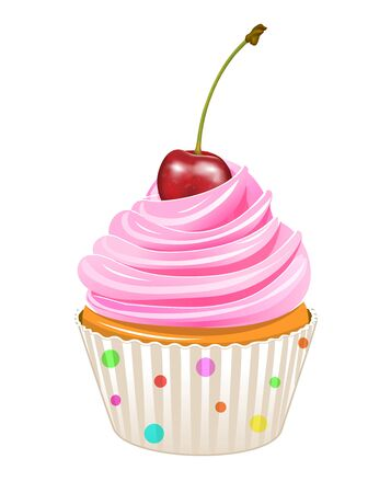 Cupcake decorated with cherries. Cupcake isolated on a white background. 일러스트