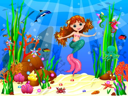 The little mermaid underwater among sea creatures and underwater plants.