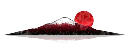 Mount Fuji and red rising sun on a white background. Abstract polygonal vector illustration. 일러스트