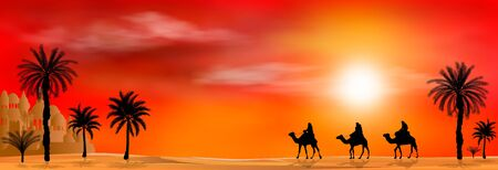 Camel riders in a sandy desert. Caravan on a sunset background. Palm tree.