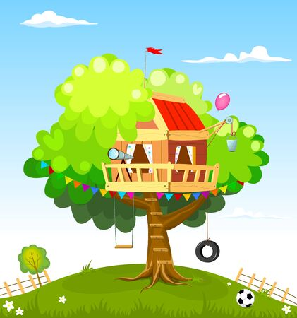 Treehouse for children. A house with a swing and a staircase. A house where children play.