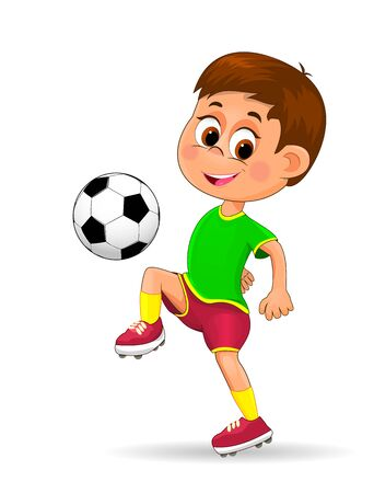 Boy soccer player with a ball. The child is dressed in sportswear of a football player. Boy with a soccer ball on a white background.