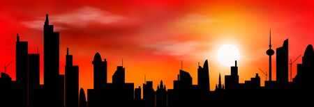 Abstract city against the sky and the sun at sunset. City, sun, sunset. Illustration