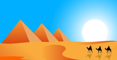 Camel caravan follows in the desert. Pyramids, sand desert against the blue sky and sun.