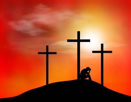 A man is sitting near the cross. Three crosses are located on a hill. Sky, clouds, sunset. The concept of sadness and hope. Religion.