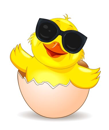 Cartoon chicken in black glasses peeking out of an eggshell. Little yellow chicken on white background.