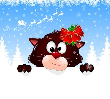 Cartoon cat on a winter background with snowflakes. Feline portrait close-up. Cat face, snowflakes, Santa Claus on deers, forest. Greeting card Merry Christmas and Happy New Year. Illustration