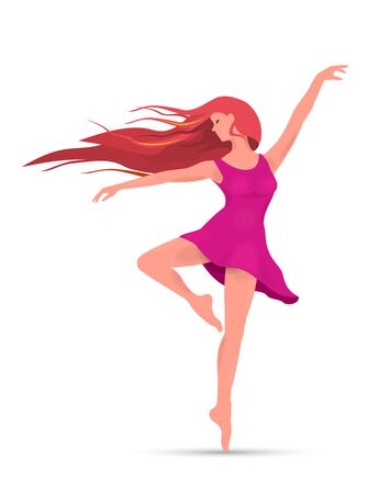 A young girl in a pink dress and with red hair. Dancing girl on a white background.
