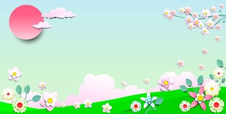 Summer background with flowers. The sun and clouds in the sky. Sakura blossom. Spring background.
