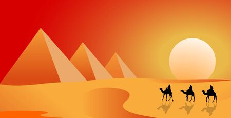 Camel caravan follows in the desert against the backdrop of a sunny sunset. The pyramids. Sand desert.