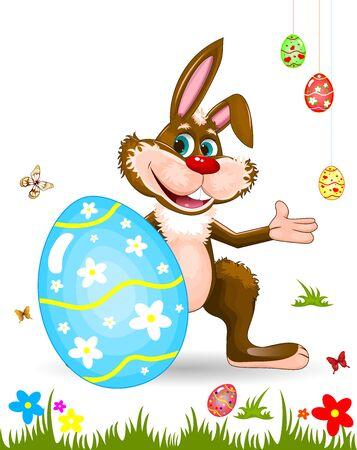 Cartoon easter bunny. Easter eggs, butterflies, flowers, grass. 일러스트