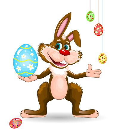 Cartoon easter bunny.  Character for greeting card.