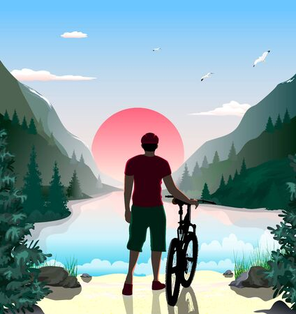 Man with a bike. Mountain landscape. The lake in the mountains. Forest. Sunny dawn. The sky with clouds. Sandy beach with stones and grass.