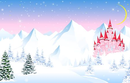 Winter landscape with a pink princess castle. Cartoon pink castle on a background of a winter forest. Snowy mountain peaks. The moon and stars in the sky. Illustration