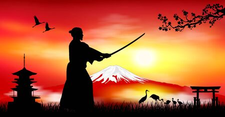 A man stands with a sword in his hands against the backdrop of Mount Fuji. Japanese landscape. Sunset.