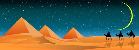 Camel travelers follow in the desert. The pyramids. Sand desert. Stars and moon in the sky.