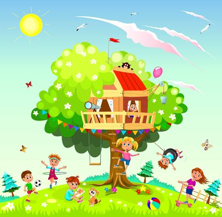 Children play near a tree. Tree house for children. Sky, sun, clouds.