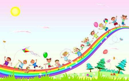 Little children play in nature. Sky, rainbow, sun.