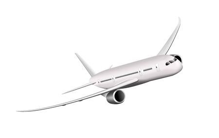 Passenger airplane on a white background. Large modern airliner.