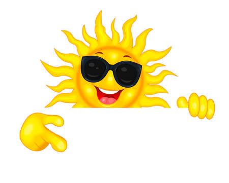 Cheerful cartoon sun in sun glasses. The smiling sun shows a direction with his hand, invites, pays attention. Sun on a white background. Illustration