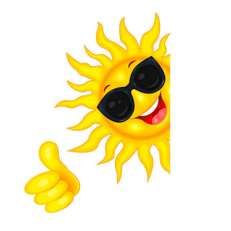 Cheerful cartoon sun in sun glasses. Sun on a white background. The sun rejoices in good luck.