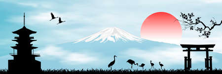 Landscape with Mount Fuji. Rising Sun. Blue sky. Japanese pagoda, sakura branch, gate and birds. Illustration