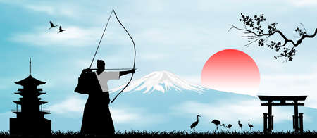 Japanese landscape. Rising Sun. A man performs archery exercises against the backdrop of Mount Fuji.