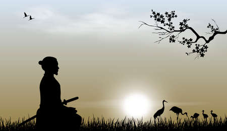 Samurai with a sword sits on the grass against the backdrop of the sky and the sun. Japanese cranes are visible in the distance. Sakura tree branch. Vector Illustratie