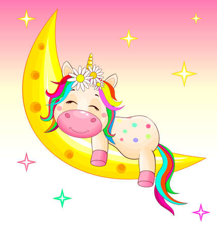A small unicorn with a multicolored mane and tail sleeps on the moon. 일러스트