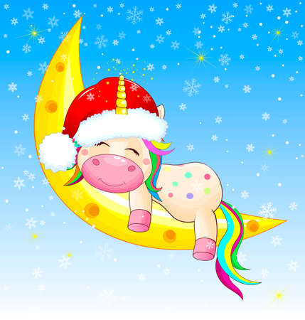 Little unicorn sleeping on the moon on Christmas night. Sky, snowflakes, glowing stars.