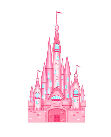 Cartoon pink castle on  white 일러스트