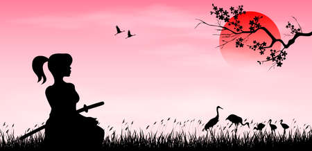 A warrior girl with a samurai sword sits on the grass against a sunset background. Sun, sakura branch and birds. Japanese landscape.