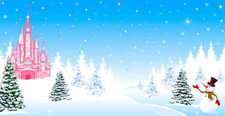 Pink castle. Winter landscape. The night before Christmas. Trees, snow, forest. Shining stars and snowflakes in the night sky. Christmas winter night scene. The snowman welcomes. Vettoriali