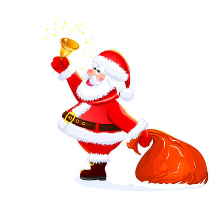 Santa with a bell in his hand on a white background.