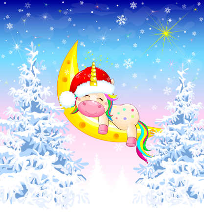 A small unicorn, dressed in a Santa hat, sleeps on the moon, against the backdrop of a winter forest. Illustration