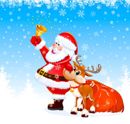 Santa with a bell in his hand. Nearby there is a deer and a bag with gifts.