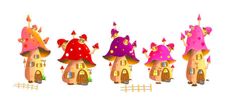 Set of fairy mushroom houses on a white background.