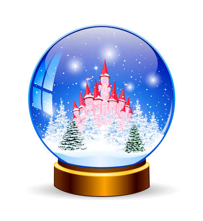 Snow ball. Princess castle on the background of a winter snowy forest. Winter landscape. Glass ball on a stand. Souvenir. Stock Illustratie