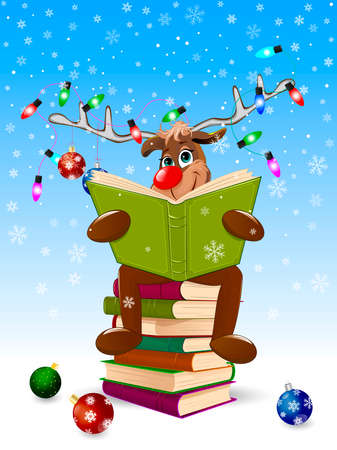 Cartoon deer reads a book for Christmas. A deer with a book and with Christmas decorations on a winter background. A deer is sitting on a stack of books. Illustration