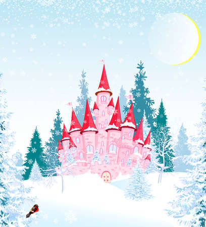 Cartoon pink princess castle on the background of a winter snow-covered forest. Winter snowy night.